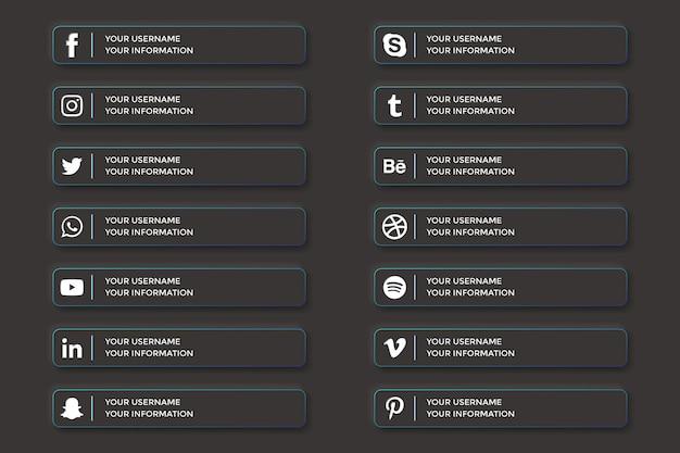 Dolne trzecie mediów społecznościowych w stylu przycisków ciemnego interfejsu użytkownika