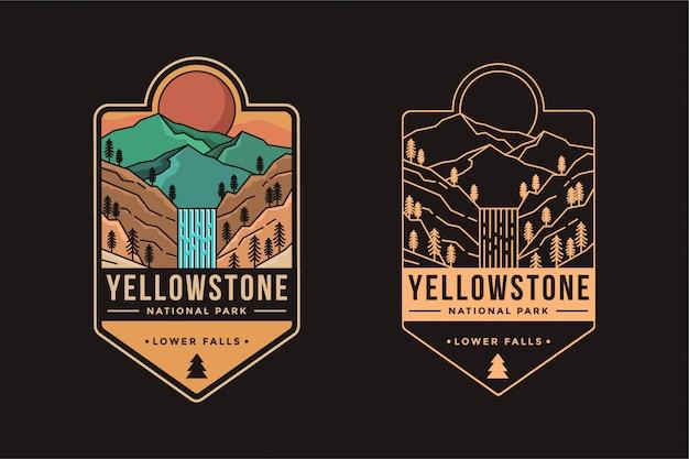 Dolne wodospady ilustracji logo znaczka godła parku narodowego yellowstone