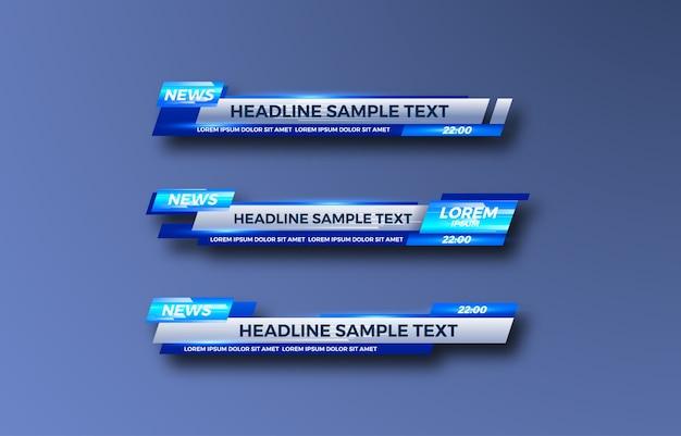Dolny trzeci sztandar. tv, bary, zestaw. strumieniowe przesyłanie wideo. najświeższe wiadomości, wiadomości sportowe, interfejs, szablon projektu