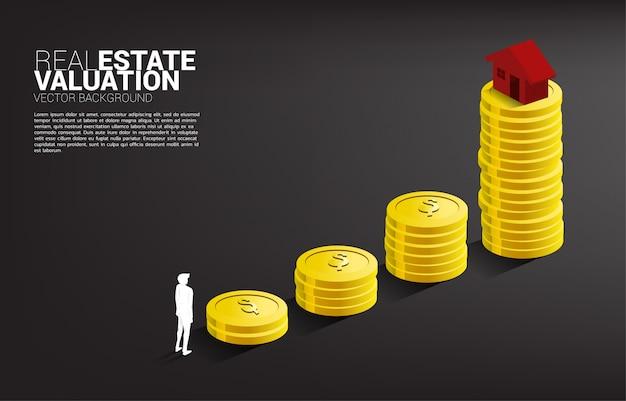Dom 3d na szczycie wykresu wzrostu ze stosem monet. pojęcie inwestycji w nieruchomości i wzrost nieruchomości.