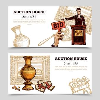 Dom aukcyjny ręcznie rysowane banery