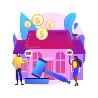 Dom aukcyjny streszczenie ilustracja koncepcja. aukcja nieruchomości mieszkaniowych i komercyjnych, kupno, sprzedaż aktywów online, licytacja na wyłączność, kolejne licytacje, aukcje biznesowe.