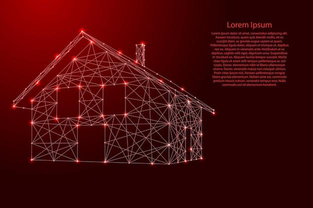 Dom, budynek z dachem i kominem z futurystycznych wielokątnych czerwonych linii i świecących gwiazd na baner, plakat, kartkę z życzeniami. ilustracja wektorowa.