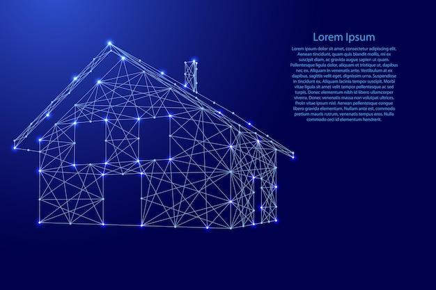 Dom, budynek z dachem i kominem z futurystycznych wielokątnych niebieskich linii i świecących gwiazd na baner, plakat, kartkę z życzeniami. ilustracja wektorowa.
