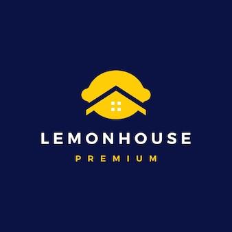 Dom cytrynowy hipoteczny architektura nieruchomości logo wektor ikona ilustracja
