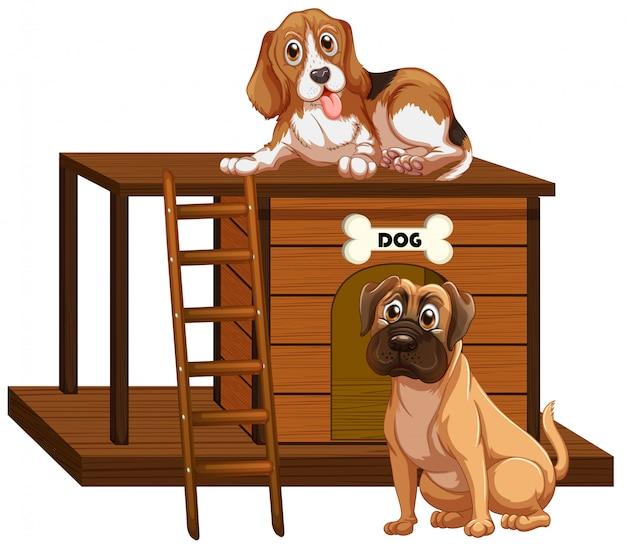 Dom dla psa z słodkie psy na białym tle