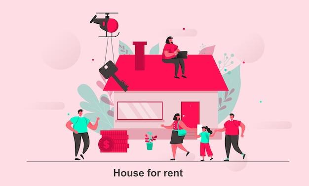 Dom do wynajęcia w wersji internetowej w stylu płaskiej z postaciami małych ludzi
