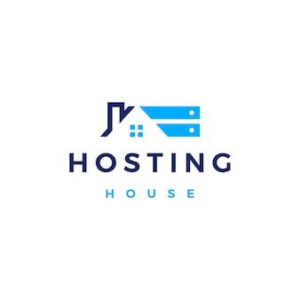 Dom domowy serwer hostingowy chmura przechowywania danych logo wektor ikona ilustracja