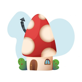 Dom fantasy wektor kreskówka bajki domek na drzewie i mieszkania wieś ilustracja zestaw dzieci bajkowy domek na białym tle
