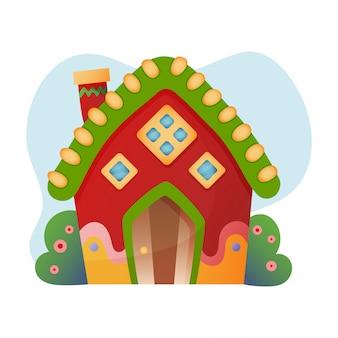 Dom fantasy wektor kreskówka bajki domek na drzewie i osiedle mieszkaniowe