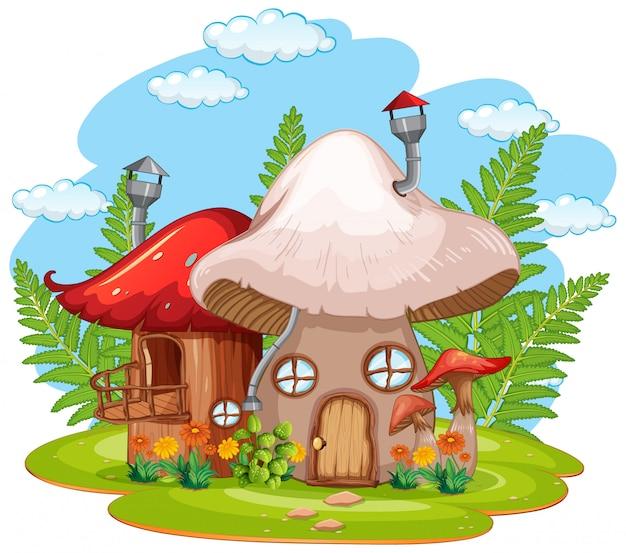 Dom grzybów na białym tle fantasy