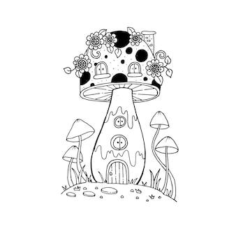 Dom grzybów w bajkowych doodles. ilustracja na białym tle