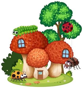 Dom grzybów z cute owadów