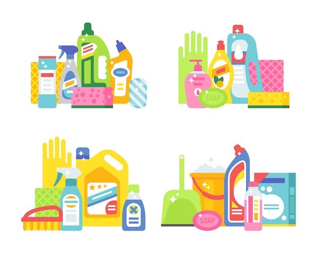 Dom higieny i produktów do czyszczenia płaskich wektor zestaw ikon