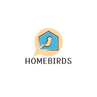 Dom i ptaki w koncepcji logo bąbelkowego czatu