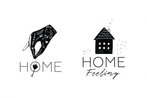 Dom i ręka trzyma kluczowy projekt logotypu. minimalistyczny symbol logotypu projektu logo nieruchomości.