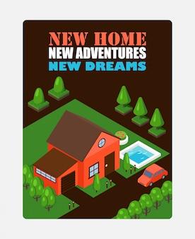 Dom izometryczny na inspirującym plakacie. reklama nieruchomości. nowy dom inspirujący frazę, geometryczny dom