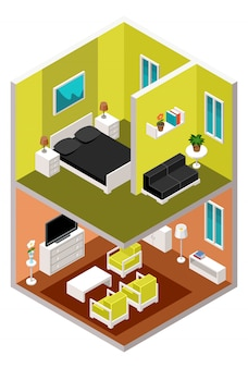 Dom izometryczny w przekroju