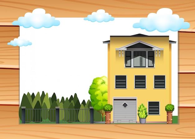 Dom jednoosobowy i podwórko w ciągu dnia