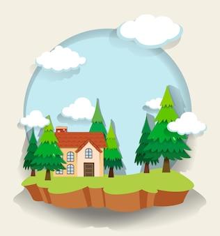 Dom jednorodzinny w lesie