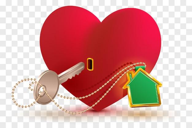 Dom jest kluczem do serca ukochanej osoby. czerwony zamek w kształcie serca i klucz z breloczkiem do domu