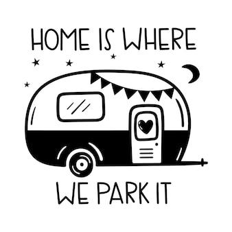 Dom jest tam, gdzie go parkujemy napisane napisy kemping motywujące słowa szczęśliwe lato na kempingu
