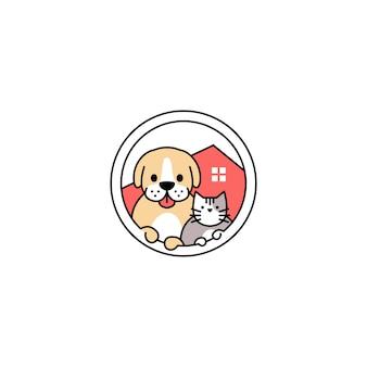 Dom kota pies w ilustracja koło wektor logo ikony