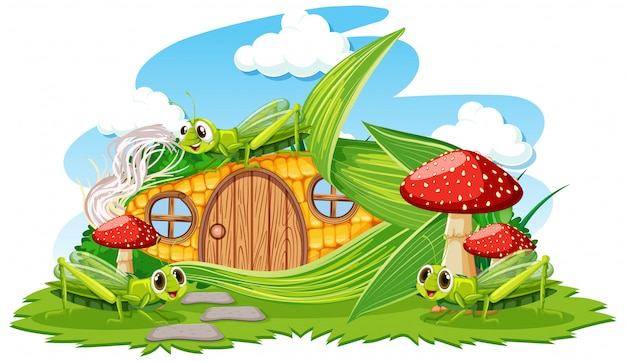 Dom kukurydziany z trzy stylu kreskówka grasshoper na białym tle