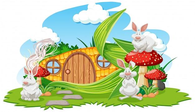 Dom kukurydzy z trzech królików stylu kreskówka na białym tle