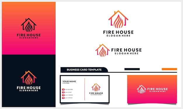 Dom lub dom z koncepcją projektu logo światła ognia i szablonem wizytówki