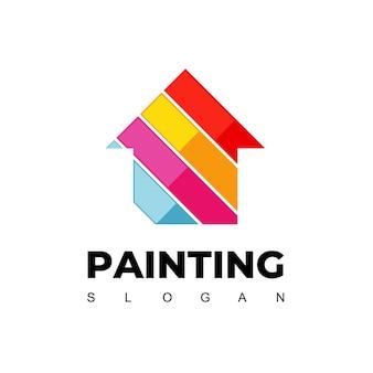 Dom malowanie logo projekt wektor