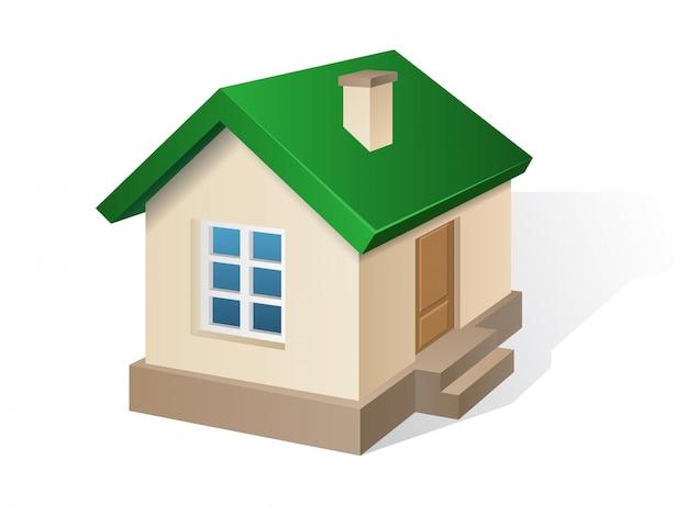 Dom mieszkalny beżowy z zielonym dachem.