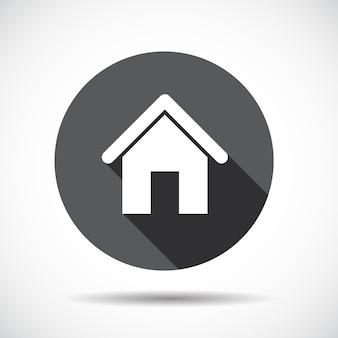 Dom mieszkanie ikona z długim cieniem. ilustracja wektorowa. eps10