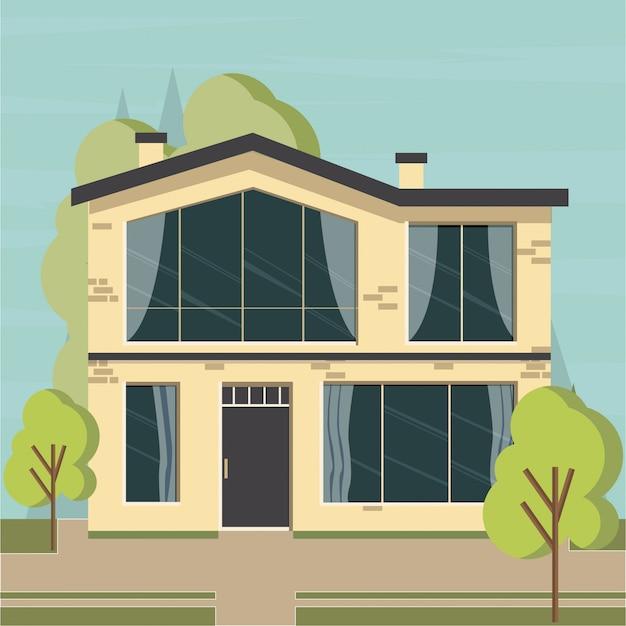 Dom mieszkanie na tle przyrody