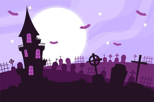 Dom na cmentarzu halloween w tle