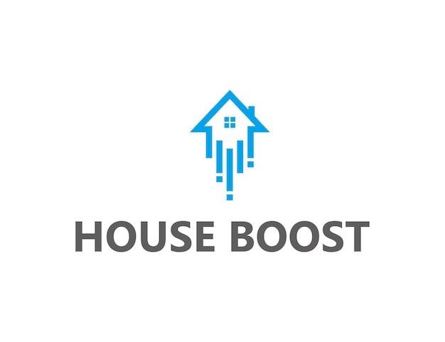 Dom na dachu z doładowaniem prosty, elegancki, kreatywny, geometryczny, nowoczesny projekt logo