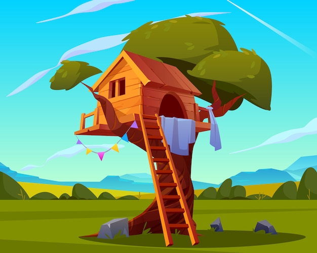 Dom na drzewie, pusty plac zabaw dla dzieci