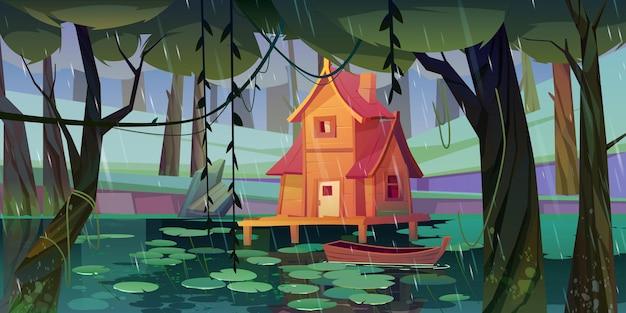 Dom na palach na leśnym bagnie z drewnianą łodzią
