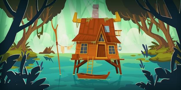 Dom na palach w bagnie z łodzią