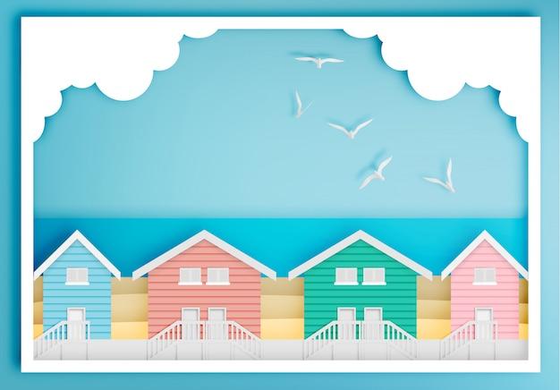 Dom na plaży z oceanu tle ramki papieru sztuki stylu