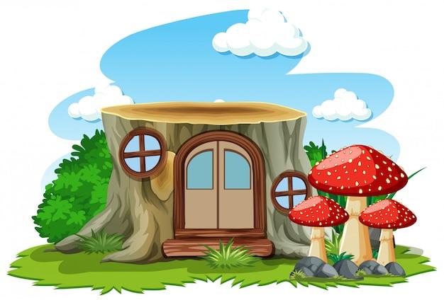 Dom na pniu z grzybami w stylu cartoon na białym tle