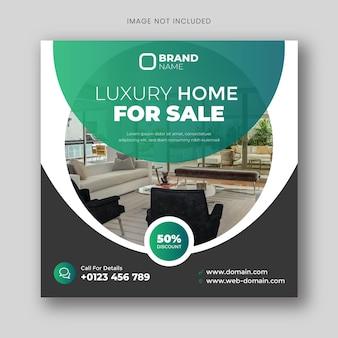 Dom na sprzedaż baner mediów społecznościowych lub kwadratowy szablon ulotki