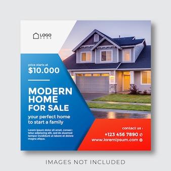 Dom na sprzedaż i baner nieruchomości na post w mediach społecznościowych