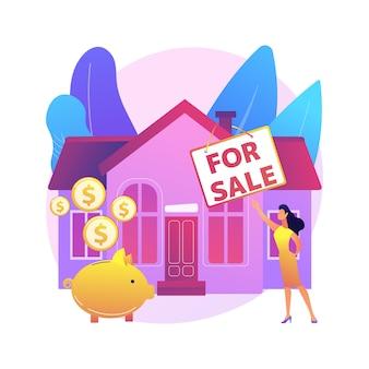 Dom na sprzedaż ilustracja koncepcja abstrakcyjna. najlepsza oferta sprzedaży domu, usługi pośrednika w obrocie nieruchomościami, nieruchomości mieszkalne i komercyjne, pośrednik hipoteczny, licytacja.