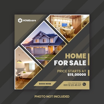 Dom na sprzedaż instagram post szablon