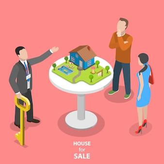 Dom na sprzedaż koncepcja izometryczny płaski wektor.