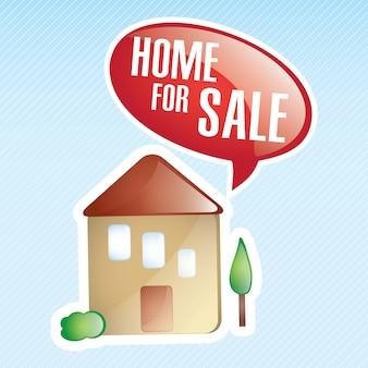 Dom na sprzedaż na niebieskim tle