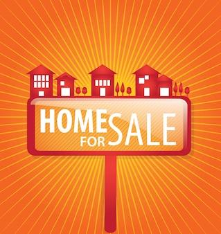 Dom na sprzedaż na pomarańczowym tle