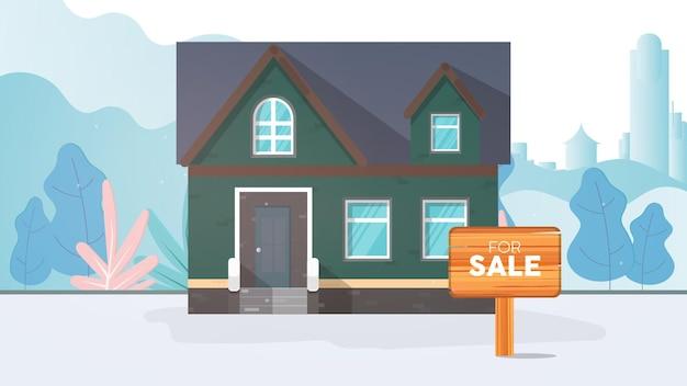 Dom na sprzedaż. na sprzedaż znak. koncepcja sprzedaży domu i nieruchomości.