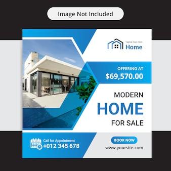 Dom na sprzedaż nieruchomości social media insta post szablon projektu